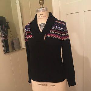 Ralph Lauren Cotton Fairisle Sweater Black Medium